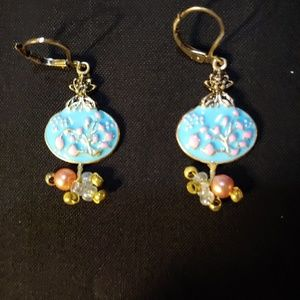 Turquoise. Antiqued Gold Plated Sterling Silver